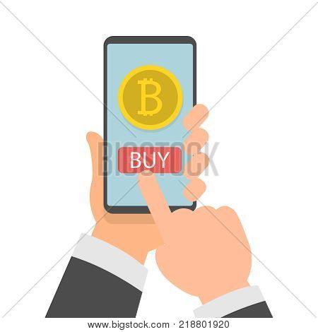 Businessman hand holding smartphone with Bitcoins on screen, Online bitcoin payment concept, Flat design vector illustration eps10