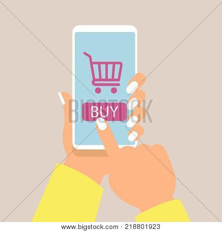Online shopping concept with women hand holding smartphone and online shop icons vector illustration eps10