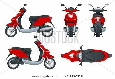 Trendy electric scooter, isolated on white background. Isolated electric scooter, template for branding and advertising. Front, rear, side, top and back