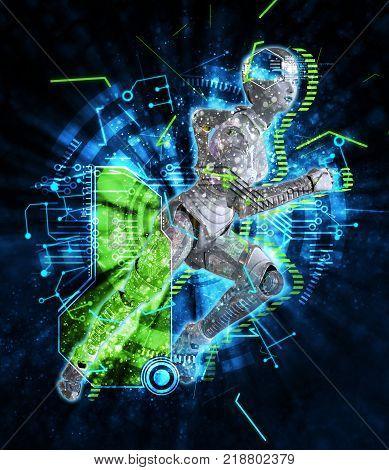 3D illustration female cyborg on techno background