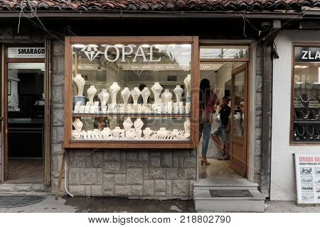 NOVI PAZAR, SERBIA - JULY 25, 2017: dowtown showcase of shop specialise in gold jewellery