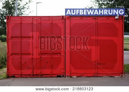 MAINZ, GERMANY - AUGUST 20: The front view of a cargo container of the 1. FSV Mainz 05 in the Opel arena for the storage of objects and valuables on August 20, 2017 in Mainz.