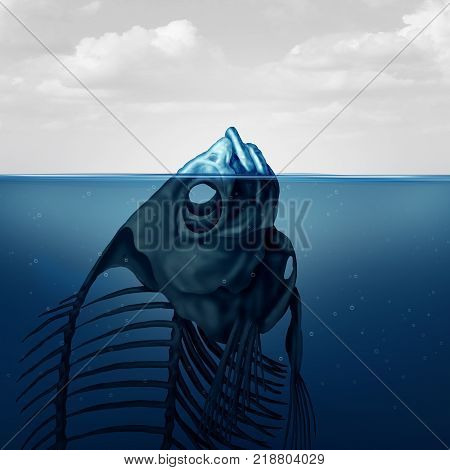 Tip of the iceberg and climate change concept or polluted water surreal conceptual symbol as a visible floating skeleton of a dead fish in a 3D illustration style.