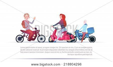 Group Of People Riding Different Motorcycles Electric Scooter And Motorbike Isolated On White Background With Copy Space Flat Vector Illustration