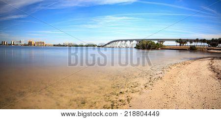 View From The Beach Of Sanibel Causeway Bridge,