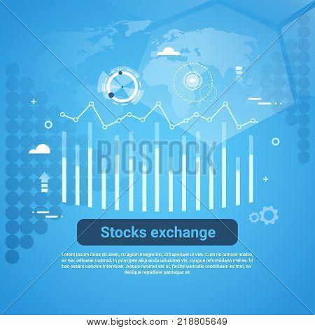 Stock Exchange Concept Business Web Banner With Copy Space Flat Vector Illustration