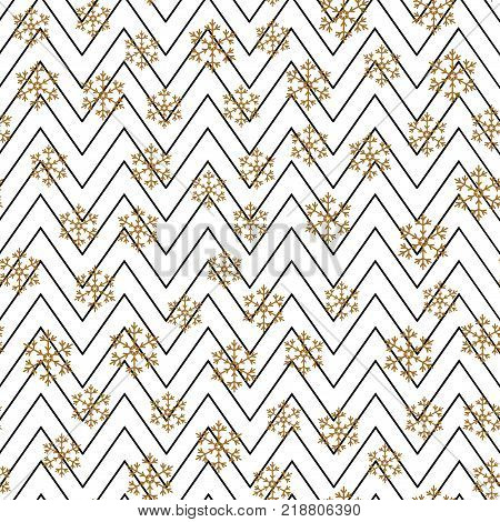 Christmas background with gold snows and black zig zag lines. Vector.
