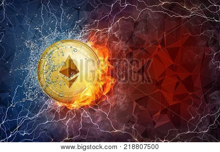 Golden ethereum coin in fire flame, water splashes and lightning. Ethereum blockchain hard fork Byzantium concept. Cryptocurrency symbol in storm with peer to peer network polygon background.