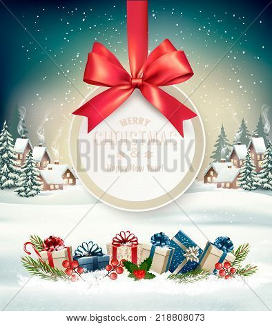 Christmas holiday background with a gift card and a gift boxes. Vector.