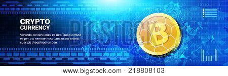 Golden Bitcoin On World Map Horizontal Banner Web Money Networking Technology Crypto Currency Concept Vector Illustration