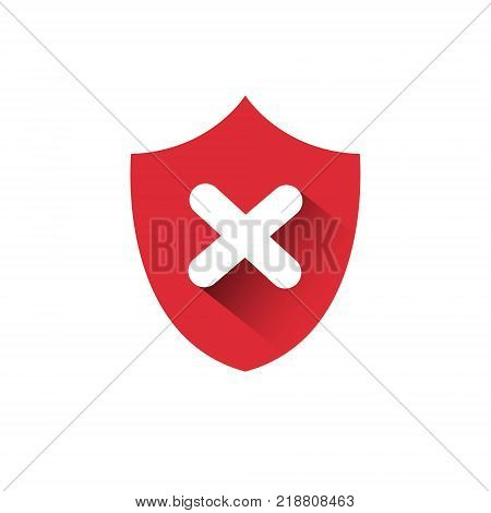 Red Shield Icon Access Denied Protection And Security Concept Vector Illustration
