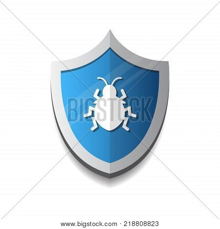 Shield Icon With Beetle Virus Protection And Security Concept Vector Illustration