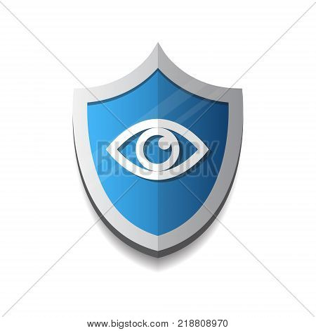 Shield Eye Icon Blue On White Background Protection And Security Concept Vector Illustration