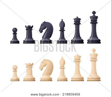 Black and white chess game pieces, figures. Logical tactical turn-based game, chess tournament, sport game, hobby and interests, highly intellectual occupation. Vector illustration isolated.