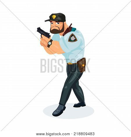 Policeman working cartoon character person in working situations. Policeman, in working clothes, in form, with pistol in his hands, is on task, catches criminals and delinquents. Vector illustration.