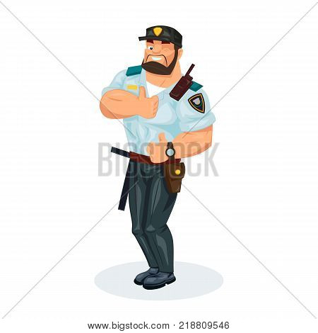 Policeman working cartoon character person in working situations. Policeman, in form, with with working equipment: baton, pistol, handcuffs, walkie-talkie, showing sign class. Vector illustration.