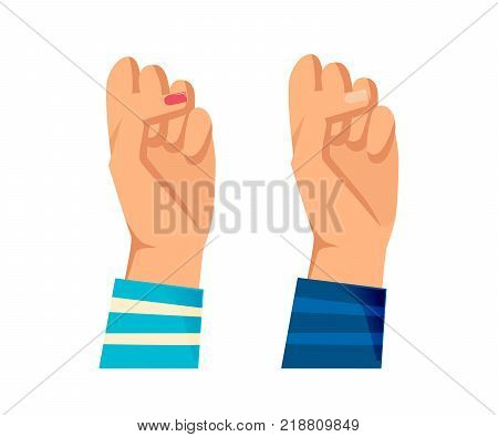 Men's and women s hands with gestures. Concept of resistance, strength, freedom, majority, fight, leadership, protest, defending rights. Hand depicts gestures. Signals man, woman Vector illustration