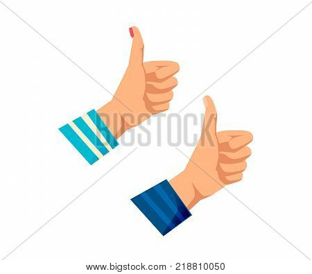 Men's and women s hands with gestures. Human hand, action and sign class, are all right, good, peace, world. Complete control, success, good standing. Signals man, woman. Vector illustration