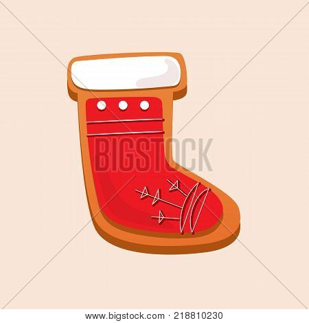 New Year, Christmas gingerbread, sweet pastries in form sock. Beautiful gingerbread. Christmas cookies, delicious biscuits in glaze and with powdered sugar. Santa claus symbol. Vector illustration.