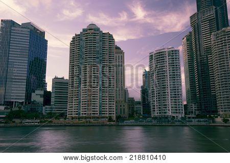Brisbane, Australia - Saturday 16Th December, 2017: View Of Brisbane City Skyscrapers And The Brisba