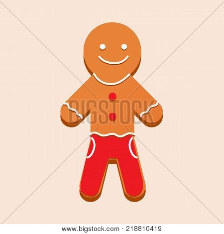 Christmas gingerbread with glaze in form of man. Sweets, New Year's gift, children holiday. Merry christmas, Christmas cookies, delicious biscuits in glaze, with powdered sugar. Vector illustration.