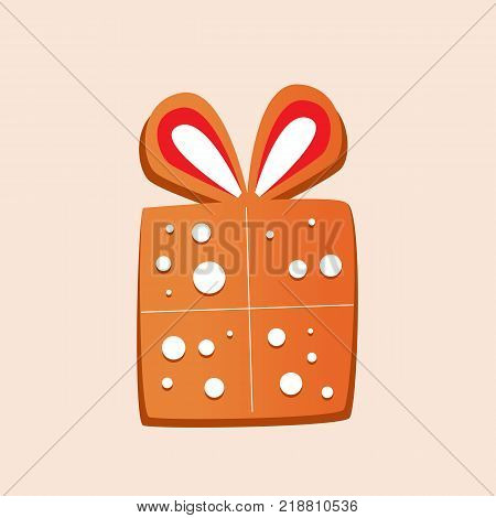Christmas gingerbread with glaze. Sweets, New Year's gift, surprise, box with a bow. Merry christmas, new year. Delicious biscuits in the glaze, Christmas cookies. Vector illustration.
