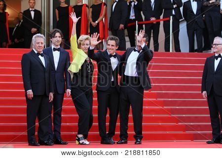 CANNES, FR - May 21, 2017: Emma Thompson, Ben Stiller, Dustin Hoffman, Noah Baumbach & Adam Sandler at the premiere for