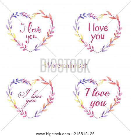 Hand drawn set with phras I love you. Vector watercolor set