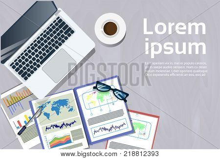 Laptop Computer And Financial Reports At Workplace Top Angle View Concept Office Desk Document Folders Banner With Copy Space Flat Vector Illustration