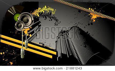 Modern grunge urban graphic design and loudspeaker