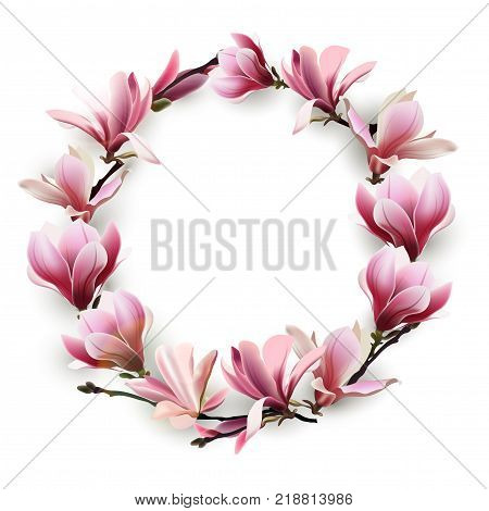 Wreath of delicate flowers pink Magnolia. Template for birthday cards, mothers day card, Greeting card happy Valentines day, spring background, banner, invitations. Vector.