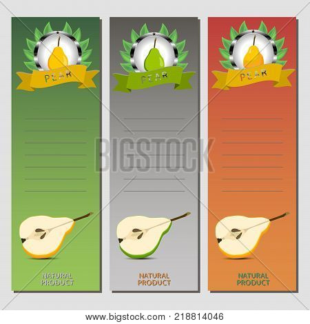Abstract vector icon illustration logo for whole ripe fruit colorful pear slice half. Pear pattern consisting of card label natural design sign tasty food. Eat sweet fresh fruits pears on health.