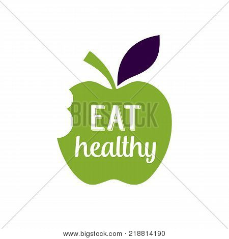 Eat Healthy lettering on bitten apple. Promotion design element. Handwritten and typed text, calligraphy. For logotypes, posters, leaflets and brochures.