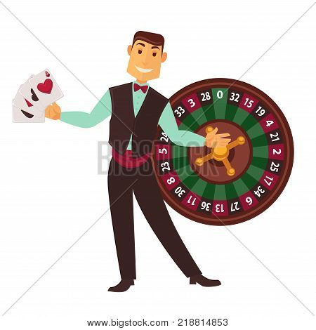 Croupier in work suit with vest and bowties holds play cards and roulette wheel behind isolated cartoon flat vector illustration on white background. Casino worker and equipment for gambling.