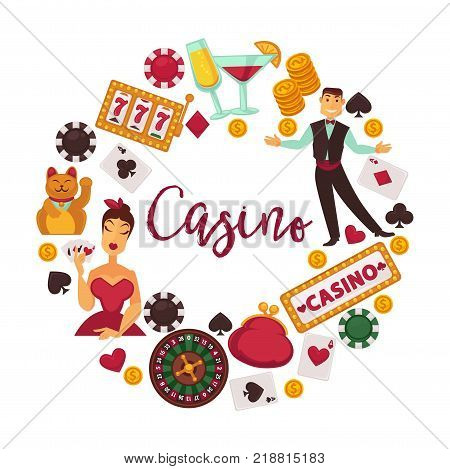 Casino promotional logotype with elegant croupier, female player and gambling equipment in big circle around sign in italic font isolated cartoon flat vector illustration on white background.