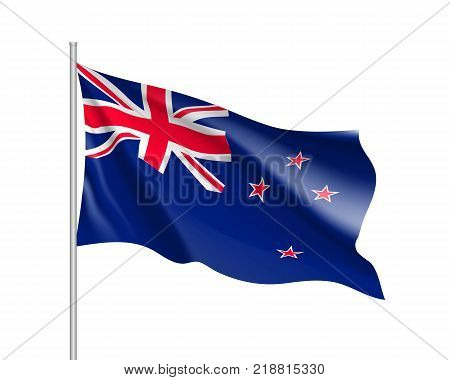 Waving flag of New Zealand. Illustration of Oceania country flag on flagpole. Vector 3d icon isolated on white background