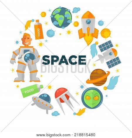 Space voyage promotional emblem in shape of circle composted of spaceman in pressure suit, modern satellites and rockets, Earth miniature, flying saucer and alien head vector illustrations set.