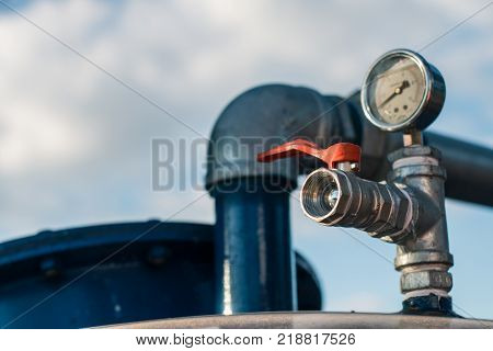 Faucet valve storage water used in drought.