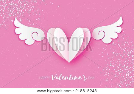 Cute Happy Valentine's Day Greetings card. White Origami angel wings and romantic heart. Love. Winged heart in paper cut style. Pink background. 14 February. Vector