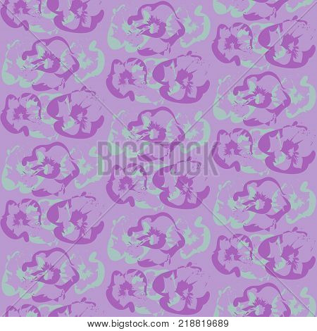 Pattern with purple and blue abstract flowers silhouettes. Tender floral texture in cold violet colors for textile, bedclothing, wrapping paper, wallpaper, background