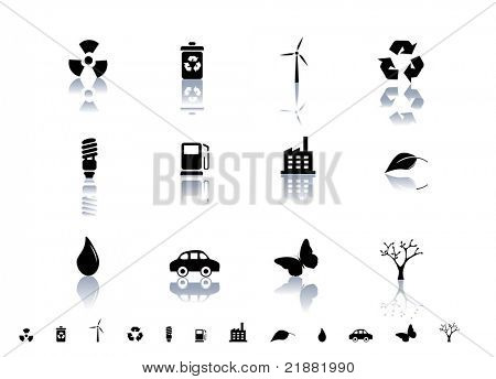 Ecological symbols icon set