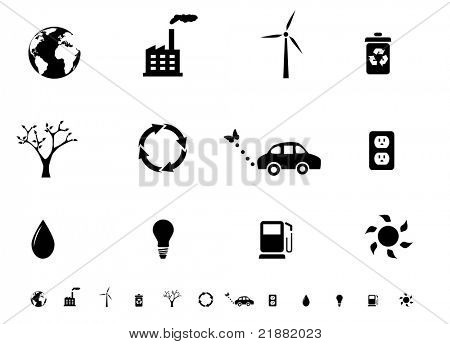 Ecology icon set silhouettes