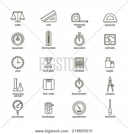 Measuring Signs Black Thin Line Icon Set Include of Scales, Ruler, Barometer, Speedometer, Sandglass and Voltmeter. Vector illustration