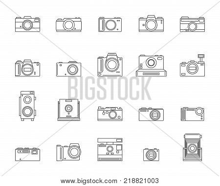 Photo Camera Signs Black Thin Line Icon Set Symbol of Photography Element Web Design. Vector illustration of Photographic Technology