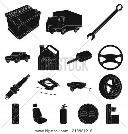 Car, vehicle black icons in set collection for design. Car and equipment vector symbol stock  illustration.