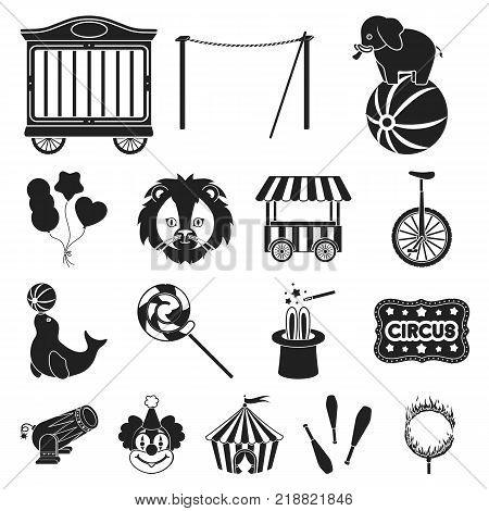 Circus and attributes black icons in set collection for design. Circus Art vector symbol stock  illustration.