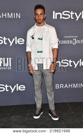 LOS ANGELES - OCT 23:  Lewis Hamilton arrives for the InStyle Awards on October 23, 2017 in Los Angeles, CA