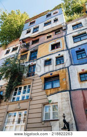 Vienna, Austria - August 15, 2017: Hundertwasserhaus in Vienna. It is is an apartment house in Vienna.