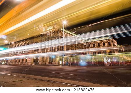 Vienna, Austria - August 15, 2017: The Vienna State Opera. It was the first major building on the Vienna Ringstrasse. Night view with light trails
