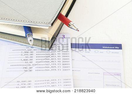 saving account passbook bank and withdrawal slips of bank